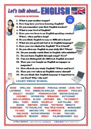 English Worksheets: LET�S TALK ABOUT ENGLISH (SPEAKING SERIES 29)