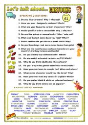 English Worksheet: LET�S TALK ABOUT CARTOONS (SPEAKING SERIES 61)