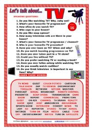 English Worksheet: LET�S TALK ABOUT TELEVISION (SPEAKING SERIES 16) NEW VERSION