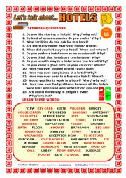 English Worksheet: LET´S TALK ABOUT HOTELS (SPEAKING SERIES 66) NEW VERSION