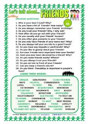 English Worksheet: LET�S TALK ABOUT FRIENDS (SPEAKING SERIES 48) NEW VERSION
