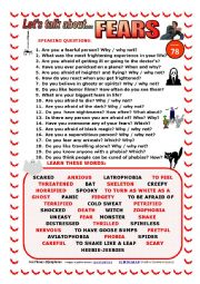 English Worksheet: LET�S TALK ABOUT FEARS (SPEAKING SERIES 78) NEW VERSION