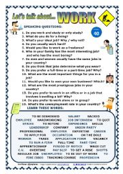 English Worksheet: LET�S TALK ABOUT WORK (SPEAKING SERIES 40) NEW VERSION