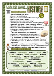 English Worksheet: LET�S TALK ABOUT HISTORY (SPEAKING SERIES 10)
