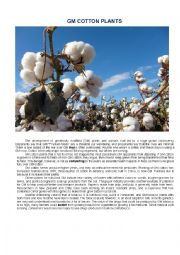 English Worksheet: Reading comprehension GM cotton Plant