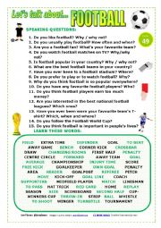 English Worksheet: LET´S TALK ABOUT FOOTBALL (SPEAKING SERIES 49) NEW VERSION