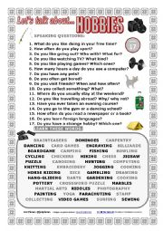 English Worksheet: LET�S TALK ABOUT HOBBIES (SPEAKING SERIES 17) NEW VERSION