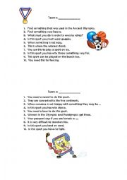 English Worksheet: sports scavenger hunt