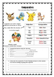 Comparative form using Pokemon