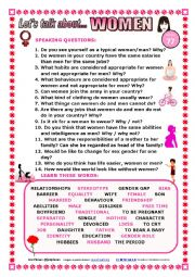 English Worksheet: LET�S TALK ABOUT  WOMEN (SPEAKING SERIES 77) NEW VERSION