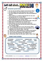 English Worksheet: LET�S TALK ABOUT MEN (SPEAKING SERIES 76) NEW VERSION