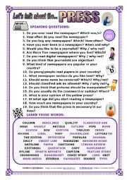 English Worksheet: LET�S TALK ABOUT THE PRESS (SPEAKING SERIES 80) NEW VERSION