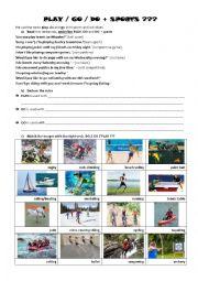 DO GO or PLAY + sports/activites