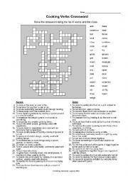 English Worksheet: Cooking Verbs Crossword