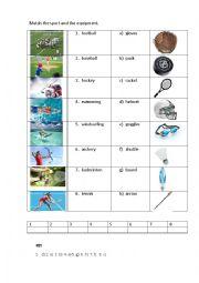 English Worksheet: SPORT EQUIPMENT 1 (matching exercises)