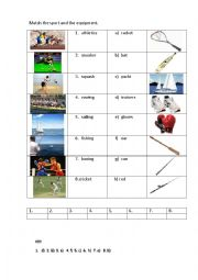 SPORT EQUIPMENT 2 (matching exercise)