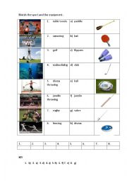 SPORT EQUIPMENT 3 (matching exercise)