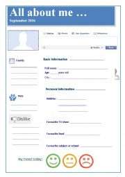 English Worksheet: All about me / FB profile + people bingo + grammar exercises 3 pages