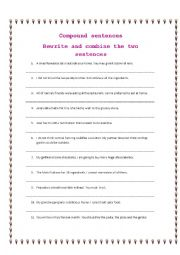 Traditional dishes and Compound sentences worksheet