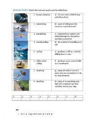 English Worksheet: EXTREME  SPORTS (matching exercise)
