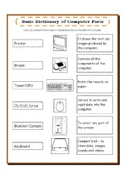 english worksheets computer parts dictionary pictionary. Black Bedroom Furniture Sets. Home Design Ideas