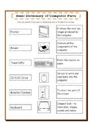 English Worksheet: Computer parts Dictionary/Pictionary