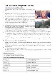 English Worksheet: Dad recreates daughter�s selfies