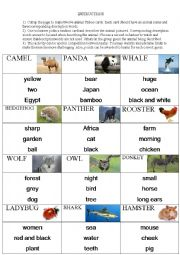 English Worksheet: animal Taboo game