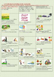 English Worksheet: Let�s talk about our holidays in the countryside.
