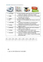 EDUCATION (Matching exercise)