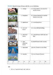 English Worksheet: HOUSES (matching exercise)