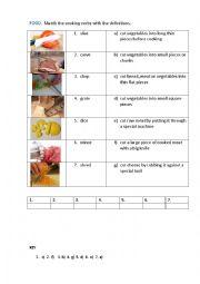 English Worksheet: FOOD. COOKING VERBS ( matching exercise)