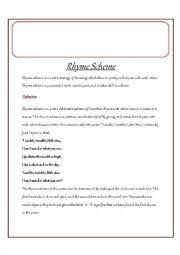 English Worksheet: Rhyme scheme