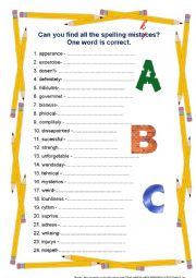 english worksheets can you find all the spelling mistakes. Black Bedroom Furniture Sets. Home Design Ideas