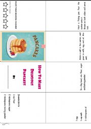 English Worksheet: How to make pancakes Recipe Mini-book