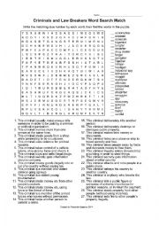 English Worksheet: Word Search on Criminals and Law Breakers