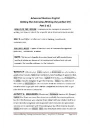 ADVANCED BUSINESS ENGLISH - GETTING THE INTERVIEW  - PART 1 OF 2 (RESUME WRITING)