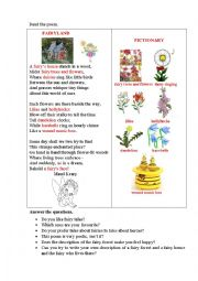 English Worksheet: FAIRYLAND (a poem + questions + a writing task)