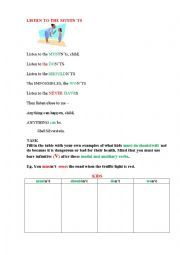 English Worksheet: Listen to the MUSTN�TS (a poem + a grammar task)