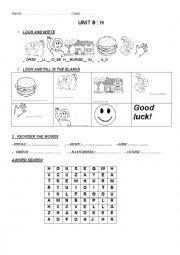 English Worksheet: h words