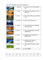 English Worksheet: GEOGRAPHY (matching exercise)
