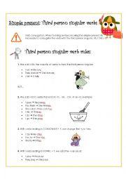 English Worksheet: Third person singular verbs