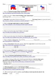 English Worksheet: 2016 US presidential election webquest