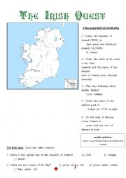 English Worksheet: The Irish Webquest