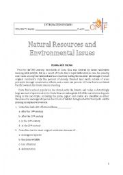 English Worksheet: Natural Resources and Environmental Issues