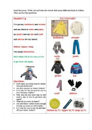 English Worksheet: BUNDLED UP (a poem + questions)