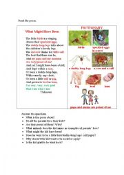 English Worksheet: WHAT MIGHT HAVE BEEN (a poem + questions)