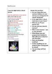 English Worksheet: T�WAS NIGHT BEFORE SCHOOL STARTED (a poem + questions)