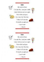 English Worksheet: Kate - a poem