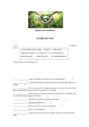 English Worksheet: A glance at ecosystems